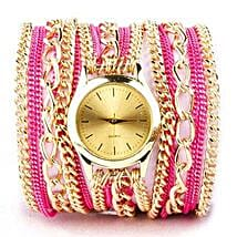 Pink N Gold Chain Watch For Women: Women's Accessories