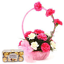Pink N White Basket Of Flavours: Flowers & Chocolates for Birthday
