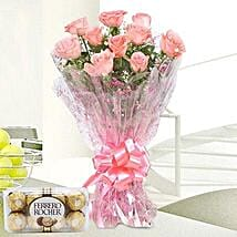 Pink Roses And Rocher Combo: Christmas Flowers & Chocolates