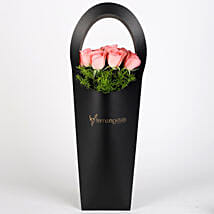 Pink Roses in Stylish Black Sleeve: Birthday Flowers