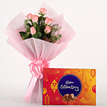 Pink Roses N Chocolates: Womens Day Flowers & Chocolates