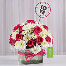 Pink Roses & White Daisies in Glass Vase: Anniversary Gifts for Husband