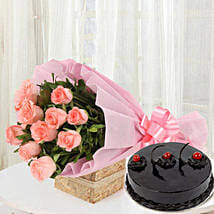 Pink Roses with Cake: Send Gold Rakhi