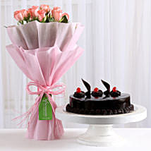 Pink Roses with Cake: Birthday Gifts for Sister