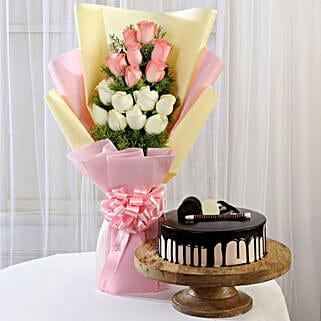 Pink & White Roses & Choco Cream Cake: