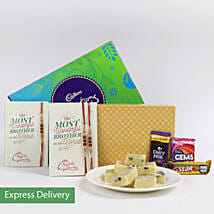 Pista Barfi Rakhi Hamper: Rakhi with Sweets