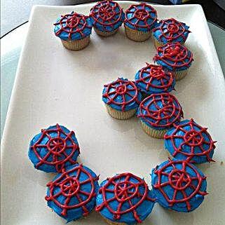Platter of Spiderman Cupcakes: Alphabet N Number Cakes