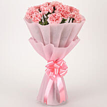 Pretty Pink Carnations Bouquet: Anniversary Flowers Chennai