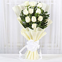 Pristine White Roses Bunch: White Roses