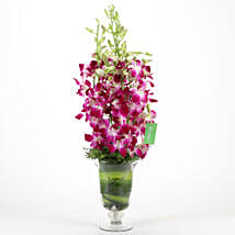 Purple Orchids Vase Arrangement: Mothers Day Flowers Lucknow