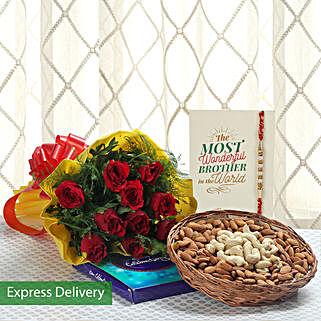 Rakhi With Dry Fruits And Roses: Rakhi Gifts to Haldwani