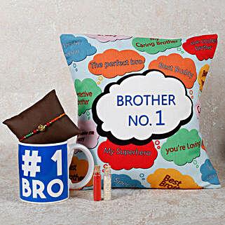 Rakhi With Mug & Cushion: Send Rakhi with Mugs