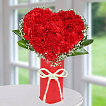 Red Carnation Heart Arrangement: Flowers to Noida