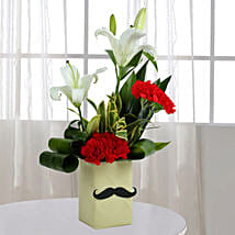 Red Carnation N Leaves Arrangement: Gifts for Brother