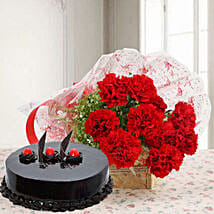 Red Carnations And Truffle Cake: Send Flowers to Mathura