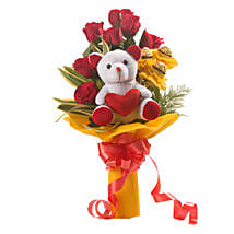 Red Choco Bouquet: Flower N Teddy