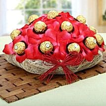 Red Ferrero Chocolate Basket: Chocolate Bouquet for Diwali
