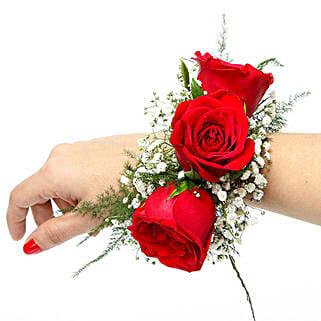 Red Rose Fresh Flower Bracelet: Send Anniversary Flowers to Delhi