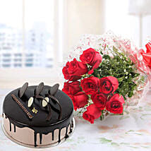 Red Roses And Chocolate Cake Combo: Send Flowers to Chittoor