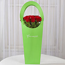 Red Roses in Green Sleeve Bag: Romantic Flowers