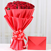 Red Roses N Greeting card: Flowers to Mangalore