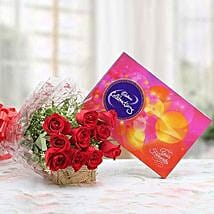 Red Roses With Cadbury Celebrations: Send Flowers to Hingoli