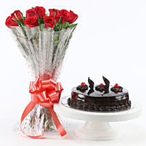 Red Roses With Truffle Cake: Combo Gifts