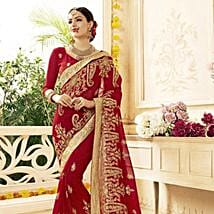 Red Saree with Heavy Floral Embroidery: Karwa Chauth Gifts Jaipur
