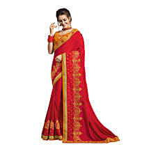 Red & Yellow Georgette Saree: