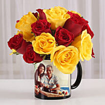 Red & Yellow Roses in Personalised Mug: