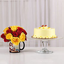Red & Yellow Roses Picture Mug & Butterscotch Cake: Fathers Day Personalised Gifts
