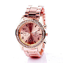 Rinestone Rose Gold Watch For Women: Accessories