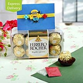 Rocher With Cute Rakhi: Rakhi with Chocolates