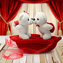 Romantic Teddies on Boat Valentine: Valentines Day Gifts Dhanbad