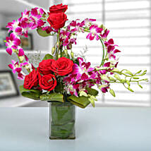 Rose and Orchid Arrangement: Send Flowers to Margoa