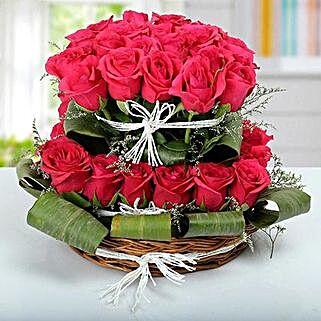 Rose Basket Arrangement: Rose Day Flowers