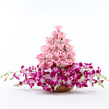 Roses And Orchids Basket Arrangement: Mixed Flowers