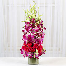Roses And Orchids Vase Arrangement: Anniversary Flowers Delhi