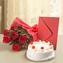 Roses N Cake Hamper: Send Mothers Day Flowers to Thane