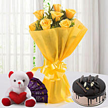 Roses N Choco Hamper: Christmas Flowers & Chocolates