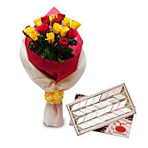 Roses N Kaju Katli EXDFNP104: Send Flowers & Sweets to Pune