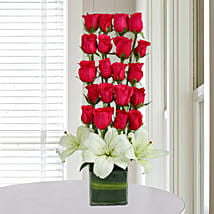 Roses N Lilies Arrangement: Send Flowers to Noida