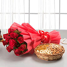 Roses with dryfruits EXDFNP113: Flower & Dryfruits for Fathers Day