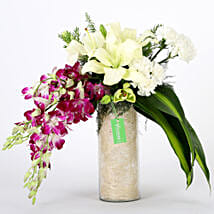 Orchids & Carnations Vase Arrangement: Premium Gifts for Anniversary