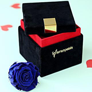 Royal- Forever Blue Rose in Velvet Box: Flower Delivery in Cuddalore