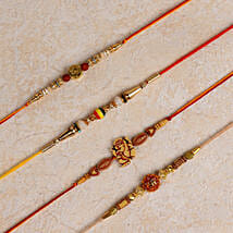 Set of 4 Designer Rakhis: Rakhi to Thanjavur