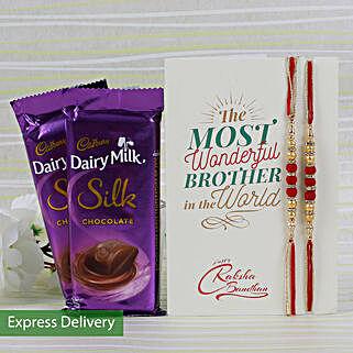 Silky Rakhi Combo: Rakhi with Chocolates
