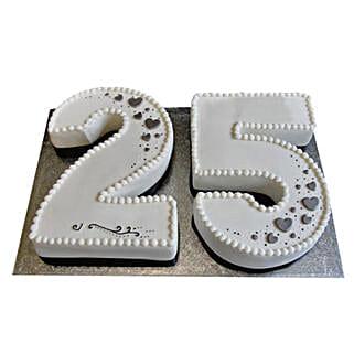 Silver Jubilee Fondant Cake: