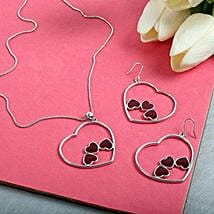 Silver N Maroon Pendant With Earrings Set: Fashion Accessories