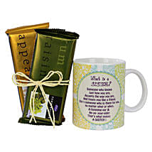 Sister Mug and Chocolates Combo: Bhai Dooj Gifts for Sister